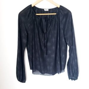 L'AGENCE | 100% Silk Poet Blouse Black Textured